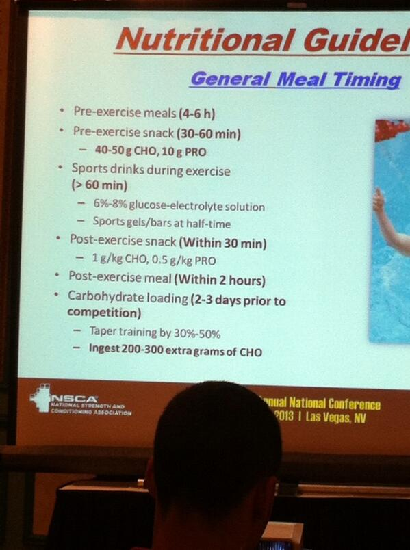 RT @toughluvtrainer: Most recent research info for competitive athletes on nutrient timing @NSCA lecture at #natcon13 #vegas http://t.co/wzvtJRnzQK