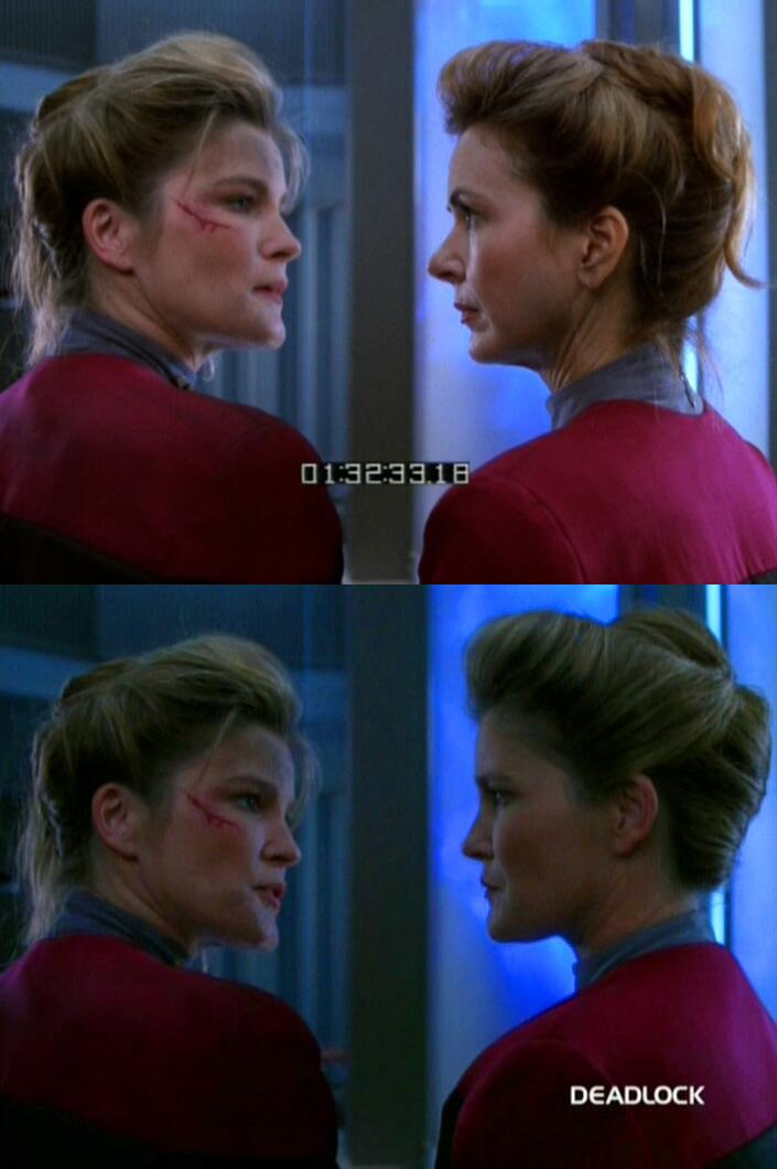 "RT @TrekCore: The joys of split-screen acting. Kate Mulgrew faces off with her ""double"" in ""Deadlock"" http://t.co/VgZCTwnj4i"