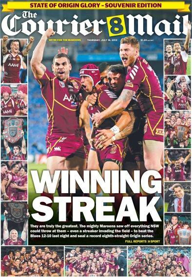 RT @SteeleTallon: Final version of WINNING STREAK with a few tweaks @couriermail P1. Love being a Queenslander! Goodnight all http://t.co/u0J3n0S1Pp
