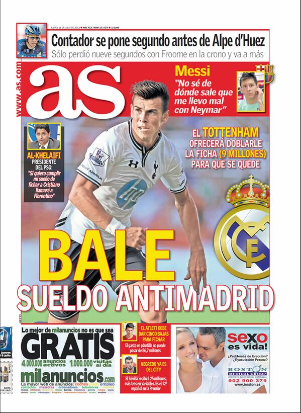 BPbpcMMCAAAgyY0 Tottenham offer Gareth Bale new contract worth double current deal to stave off Real Madrid [AS]