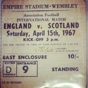 #throwbackthursday match ticket from #england v #scotland at Wembley, 1967 http://t.co/Xvwm2Mhk9t