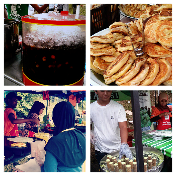 From top left: Air Mata kucing, roti bom, murtabak & putu bambu. You call this a feast.  #menuParam http://t.co/OfFkjMGmiy