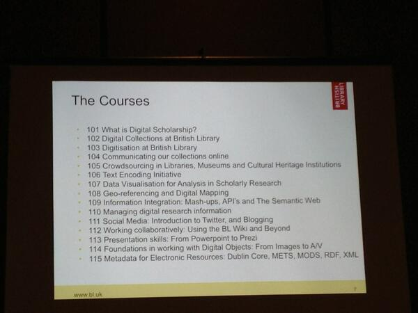 RT @surlyF: Another try: 15 1-day workshops develeoped to educate curators at the British Library on digital scholarship. #DH2013 http://t.…