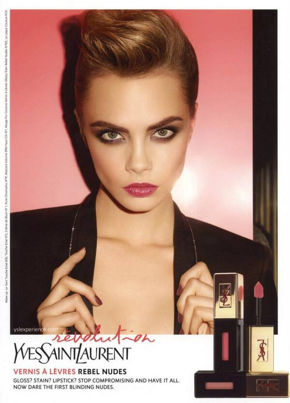 """Miss @Caradelevingne shows off smokey eyes in @YSLBeautyUK's """"Rebel Nudes"""" campaign. http://t.co/gXCgc19KJ8"""