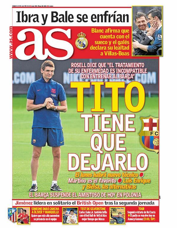 """Buenos días. Esta la Portada de AS de hoy sábado: """"Tito tiene que dejarlo"""" http://t.co/IGMAOe0K7o"""