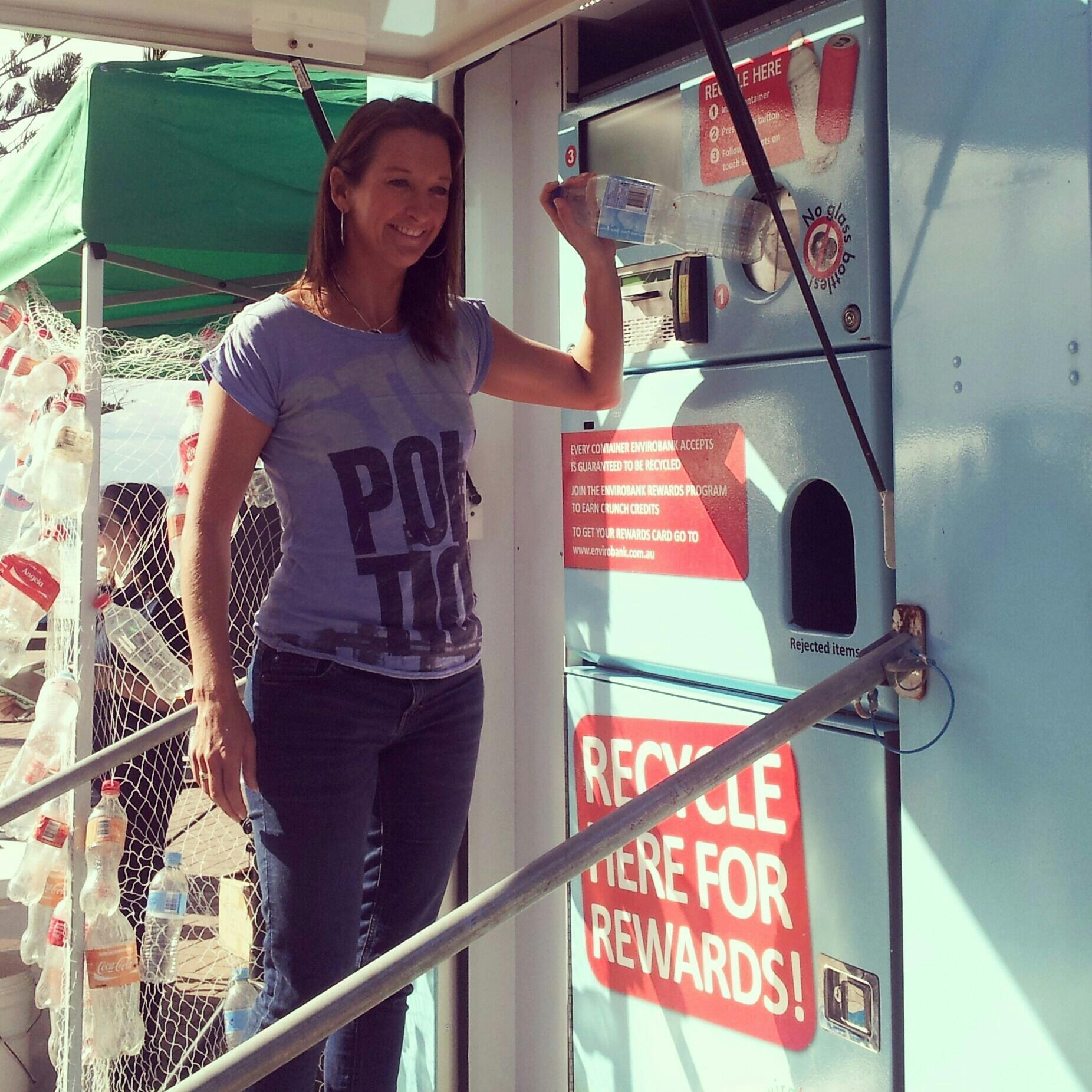 RT @GreenpeaceAustP: PIC: Reverse vending machine demo with surfing legend @LayneCBeachley  #cash4containers #recycling http://t.co/XyQPAl8…