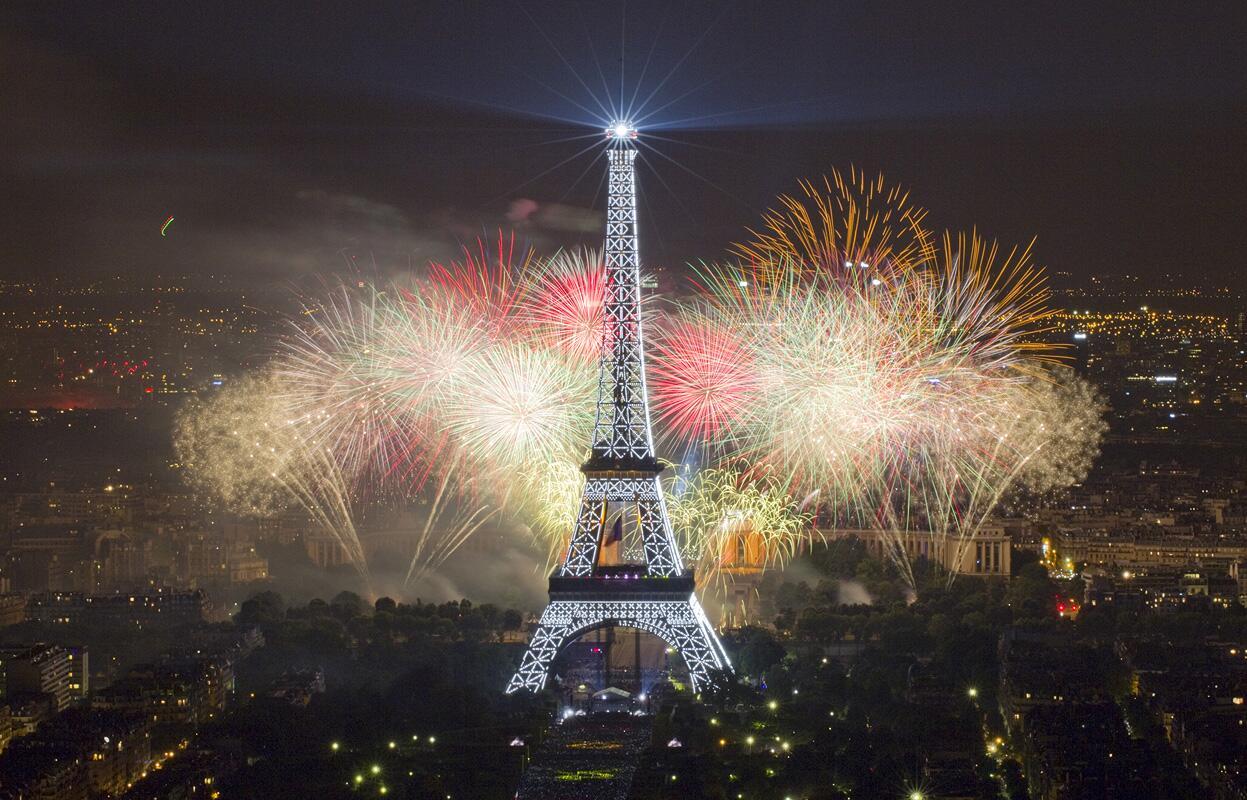 Fireworks at the Eiffel Tower for Bastille Day http://t.co/5q4mAlEbtj