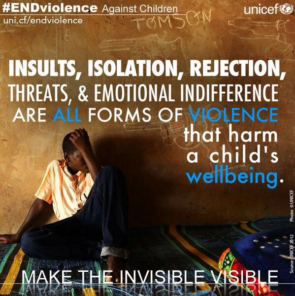 RT @unicefphils: Insults, isolation, rejection, threats & emotional indifference harm a child's well being. #ENDviolence http://t.co/UyyGlJnq0t