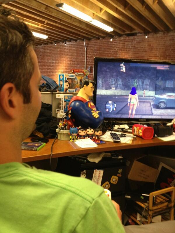 Alexis Cozombolidis (@LetsGetLexi): Just another day @ign for @DaemZero playing #SaintsRowIV http://t.co/qcDAdX47KJ