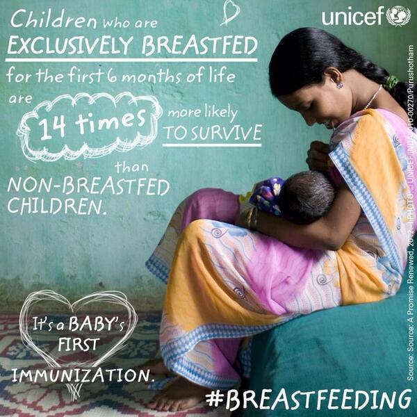 RT @stmw151: A baby's first immunisation. #breastfeeding #unicef http://t.co/22JtIqwhCL