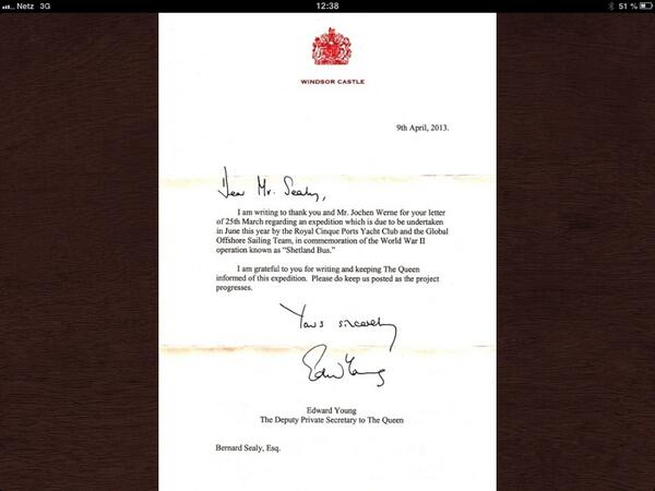 Global Relations: Letter from the Deputy Private Secretary to HM THE QUEEN  on behalf of Expedition SHETLAND BUS http://t.co/169i632x9R