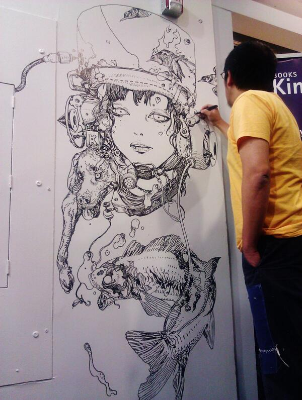 Illustrator Katsuya Terada just finished his freehand drawing at our SF Store! http://t.co/VJivSAW3mq