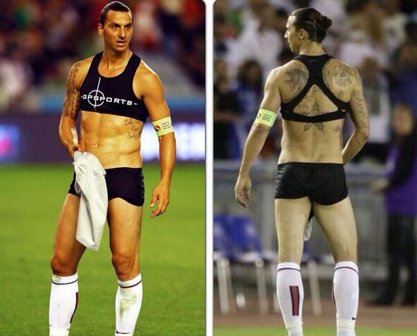 BQPzyCjCcAAMPjn Zlatan Ibrahimovic wears a sports bra & bikini combo post PSG 0   Real Madrid 1 [Pictures]