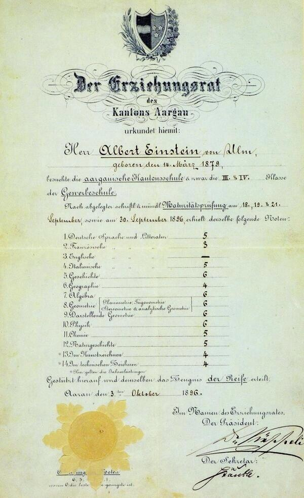 Einstein's school report (out of 6). CHECK OUT THICKY ENGLISH THICKY. http://t.co/r996JBa9Ru
