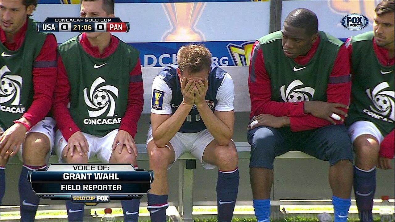 American fans get very emotional after Stuart Holden is injured in the Gold Cup final v Panama