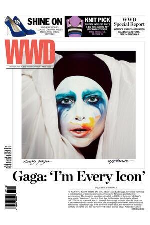 """A sneak peek at Monday's WWD, featuring @ladygaga's new single art, """"Applause,"""" from ARTPOP: #WWDExclusive http://t.co/8ekZyyOUlO"""