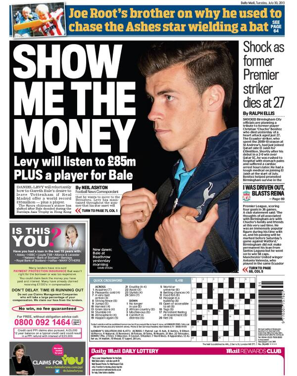 BQXta0RCcAAyJuL The Gareth Bale Tuesday back pages: Crunch Talks & Levy will take £85m + a player