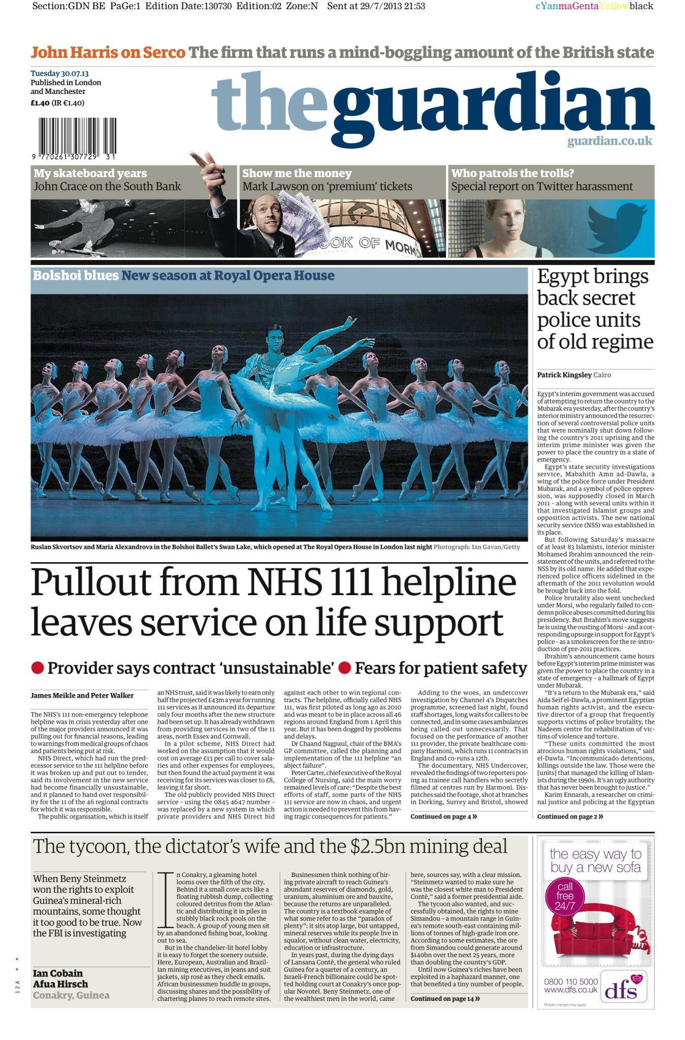 Guardian front page, Tuesday 30 July 2013: Pullout from NHS 111 helpline leaves service on life support http://t.co/muQy0SwUvt