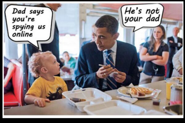 Grâce a #snowden ns tous savons maintenant qu'Obama ns espionne ! Tous! :) #oupas http://t.co/A3Id0StwxI