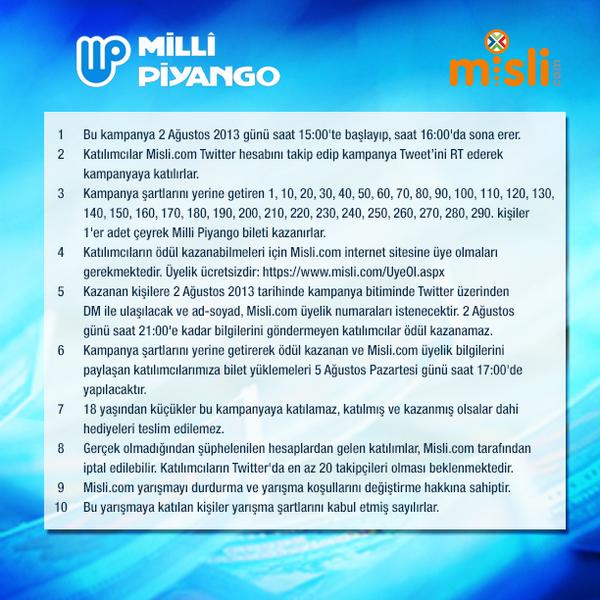 misli.com (@mislicom): Bu Tweet'i RT et, Twitter'da Misli'yi takip et, MP bileti kazanma şansı yakala! @mislicom #MilliPiyangoMislidenAlinir http://t.co/TsOATmfpbc