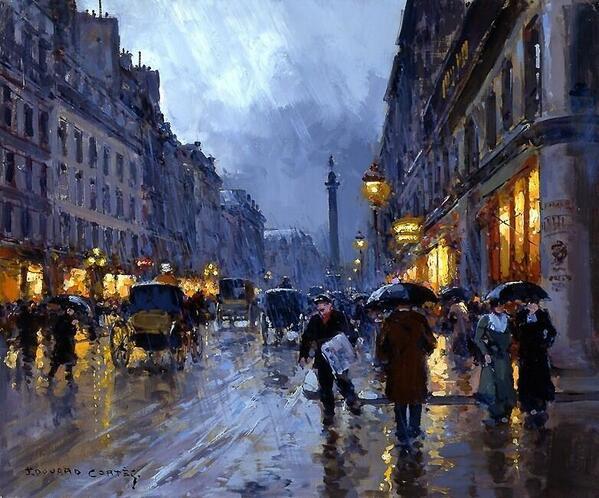 "RT @AlessandroForn6: Edouard Leon #CORTES, ""Paris evening with rain"" #art #artwit #twitart #fineart #followart #iloveart #tweetart #paris http://t.co/8OmzHDwvGp"