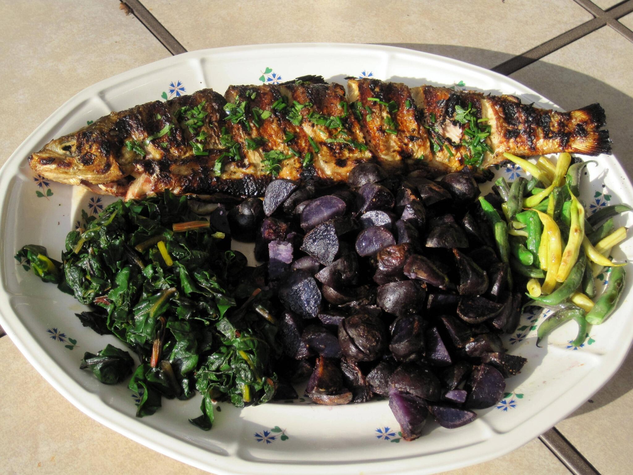 RT @SallyJWRead: @bonappetit inspired me to grill my first ever whole fish - whitefish w/purple potatoes, chard & beans http://t.co/h5EGyGQ4gS