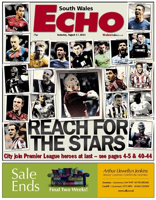 RT @bluebirdsmad: Tomorrow's South Wales Echo front page: Reach for the stars. Good luck, Cardiff City. #ccfc #bigboys http://t.co/GzJDPQiWb1