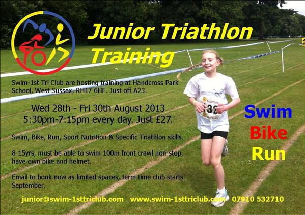 #junior #triathlon training in West Sussex. Book now, spaces are selling fast. http://t.co/W0ZbPRzlVP
