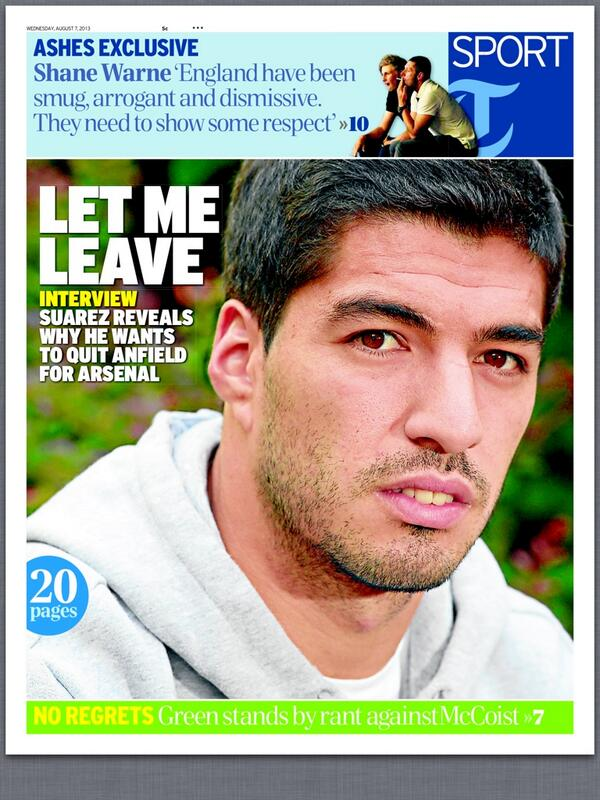BRBHhOZCcAAPPEk Luis Suarez tells Guardian & Telegraph he wants to leave Liverpool for Arsenal
