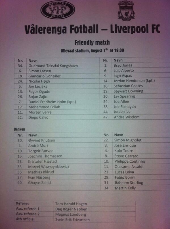 Full team-sheet from Oslo. But it's 'Jon' not 'Joe'... http://t.co/Lkc99PLTS2