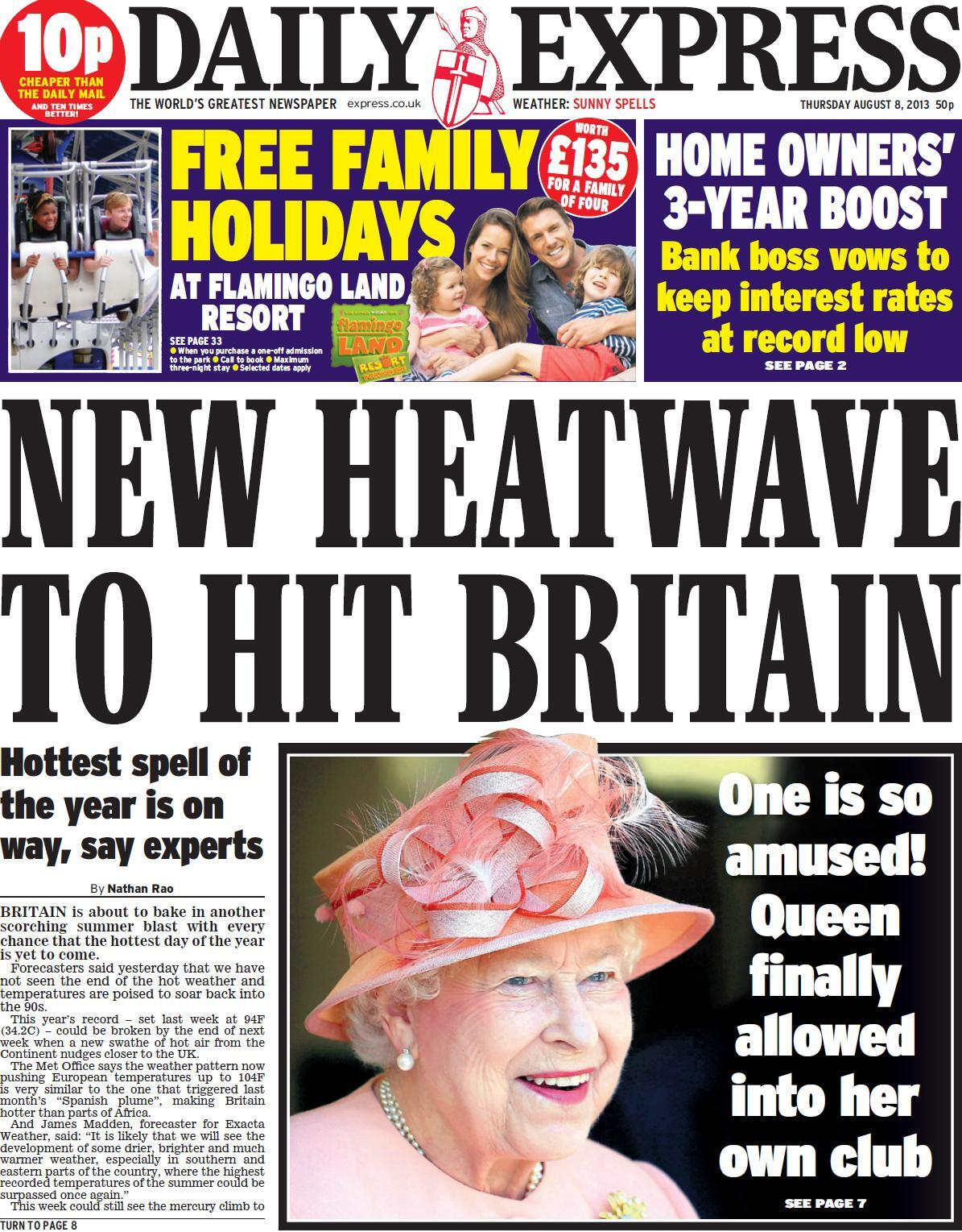 Thursday's Daily Express front page - 'New heatwave to hit Britain' #tomorrowspaperstoday #bbcpapers http://t.co/L43GvfU7df
