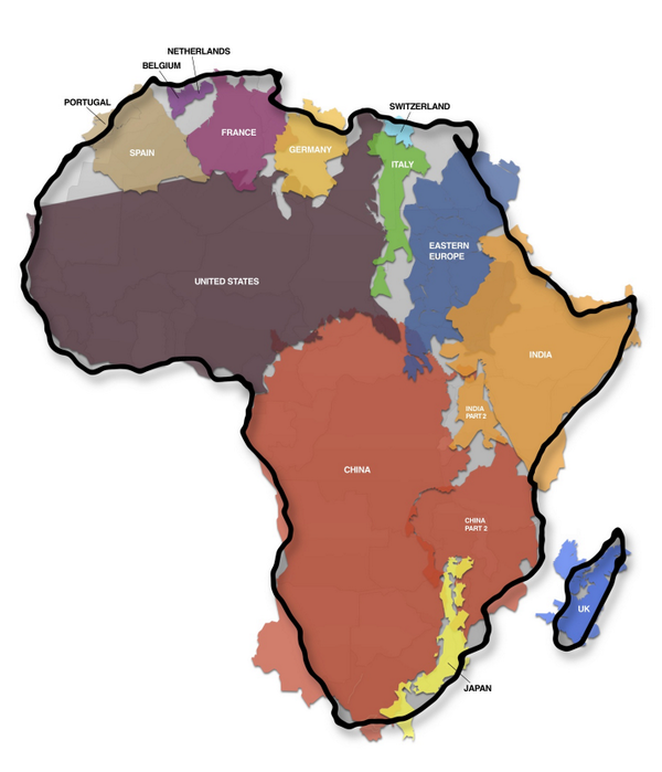 Taille reelle du continent Africain: http://t.co/M2YCtGVXQK