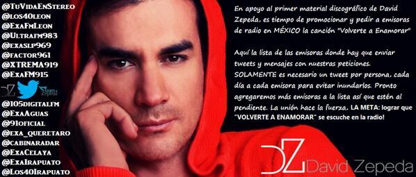 """FANS en apoyo al primer disco de @davidzepeda1 pidamos a emisoras de radio en MÉXICO la canción """"Volverte a Enamorar"""" http://t.co/5gbsZ945y4"""