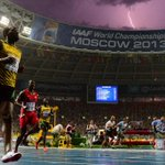 A perfect photo? Usain Bolt winning 100m at World Championships while a bolt of lightning strikes. (H/T @nzaccardi)