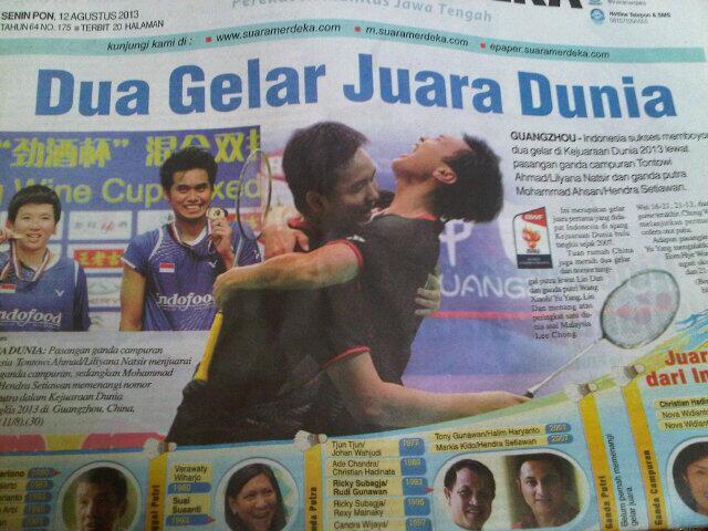 Suara merdeka hari ini, indonesia dan badminton, jd cover utama dan trending topik! Grreat cc: @bulutangkisRI http://t.co/iXK48zEDA5