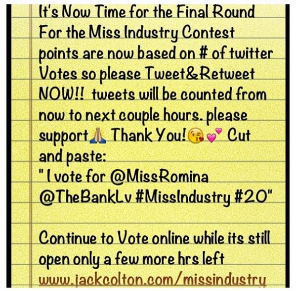 JENNY YUKICH (@JennyYukich): EVERYONE VOTE FOR MY GIRL @MissRomina http://t.co/fPP7u9PCWW
