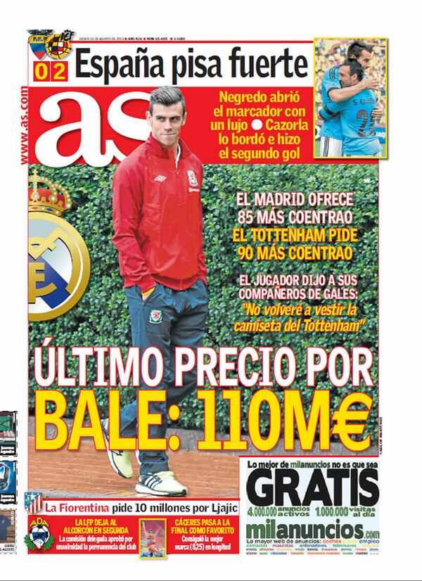BRr1vYVCcAASz A AS: Real Madrid offer €110m (including Fabio Coentrao) for Gareth Bale