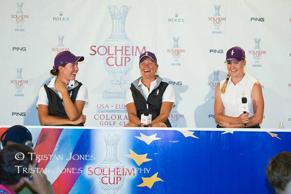 Presser with @carlotagolf and Charley Hull, @LETgolf @SolheimCupEuro #solheimcup http://t.co/WBcwNvdfxR""