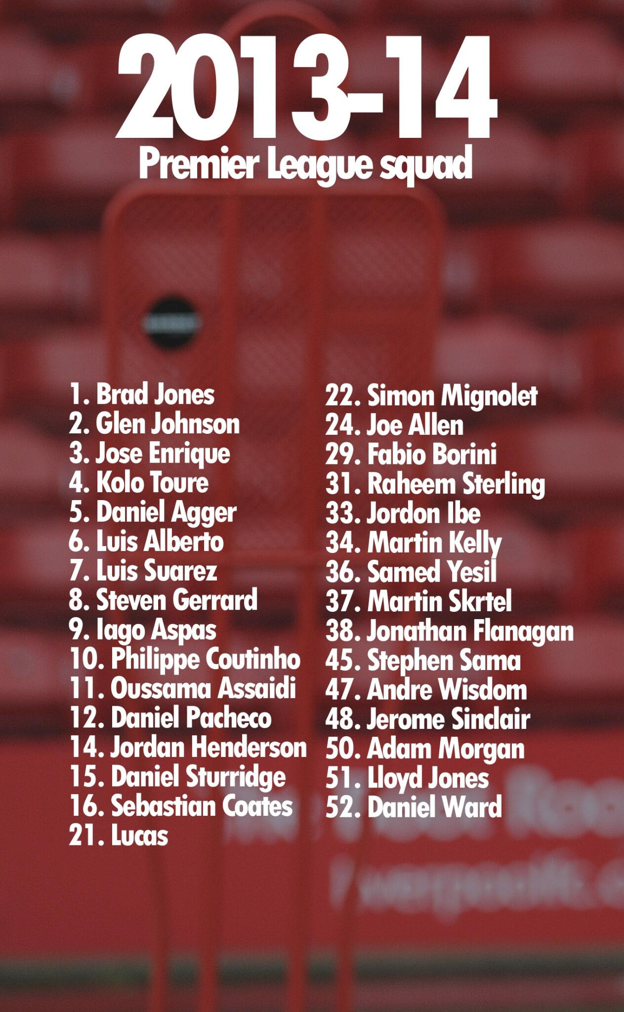 #LFC confirms @premierleague squad numbers for 2013-14: http://t.co/iMY1U8RCeD
