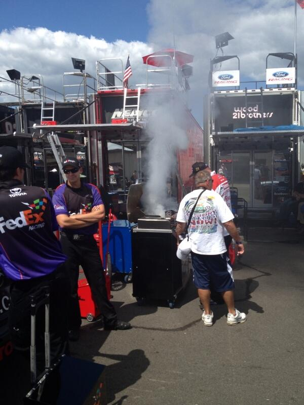 Wood Brothers new strategy. Smoke signals from team grille. #sarcasm #nascar http://t.co/7cz3D2uUPE