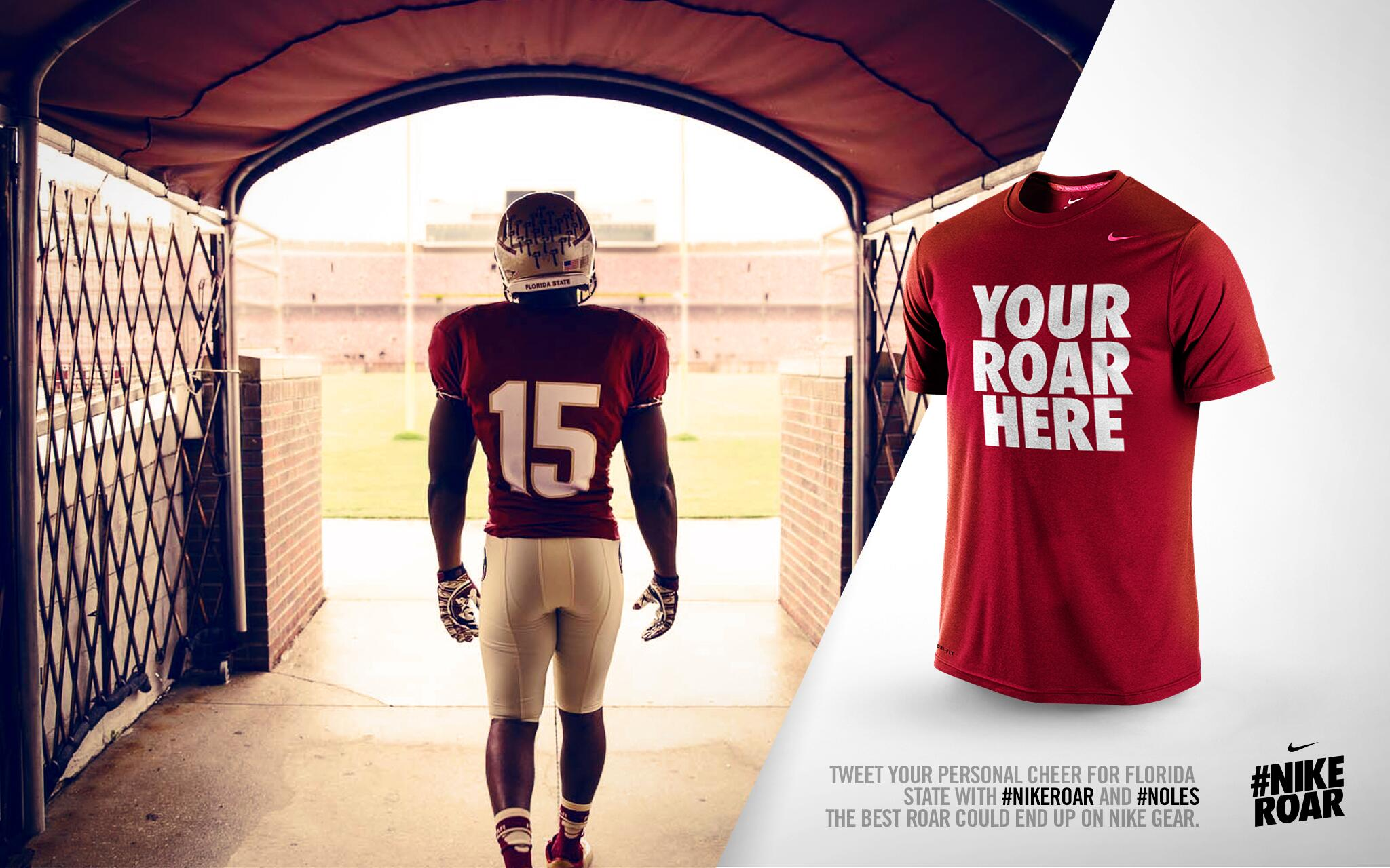 Now's your chance to get your personal cheer on official Nike FSU gear! Tweet your roar w/ #Noles and #NikeRoar today http://t.co/VsbootMXli