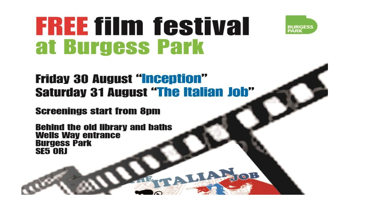 OUTDOORS CINEMA | @BurgessPk: Today #Inception, courtesy of @lb_southwark @freefilmfest and Albany Place. http://t.co/3dew8pTetg""