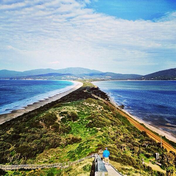 Beautiful view from the lookout at The Neck on Bruny Island in #Tasmania. Great shot by @fran_t! (Shared via IG) http://t.co/bK9I3yVsNh