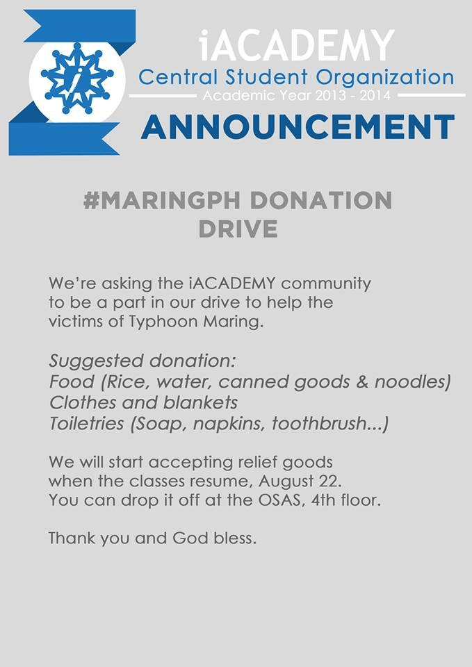"""@iACADEMY_EDU in Ayala Makati is now accepting donations for the typhoon victims http://t.co/1dzi3AUx4F"""