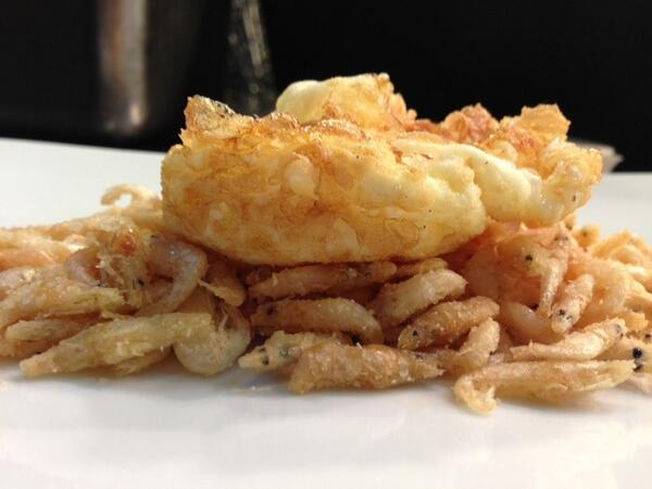 Fried baby shrimp with fried egg? Oh yeah! Soon @jaleotapasbar ... http://t.co/K1Ng6ENFvh