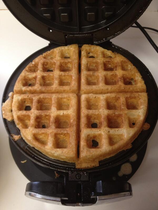 I have been experimenting with (2 week old) Alpha all week and he has gifted us with the most delicious waffles.... http://t.co/nW5EXLsquH