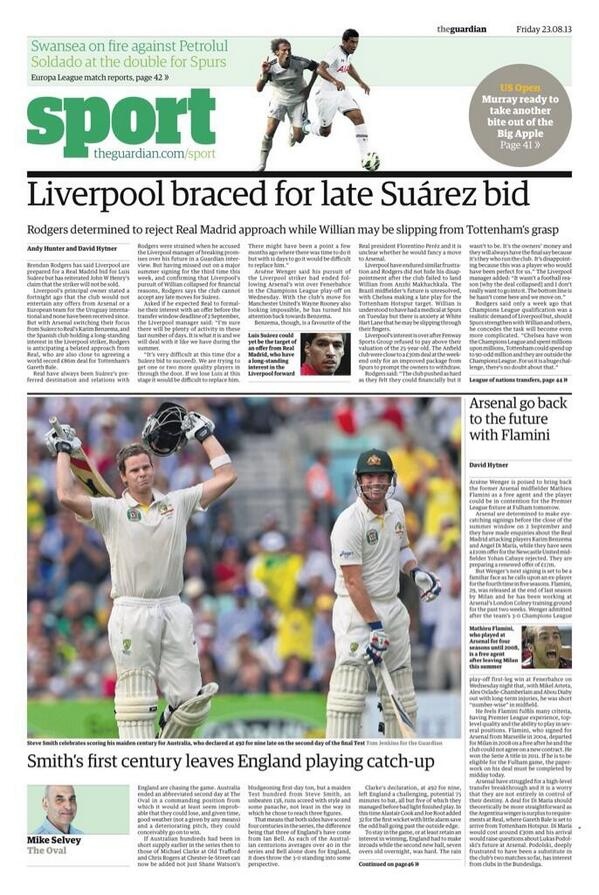 Guardian reporting that LFC are 'braced' for a late Suarez bid from Madrid. Yawn. http://t.co/n3DCVTGe1p