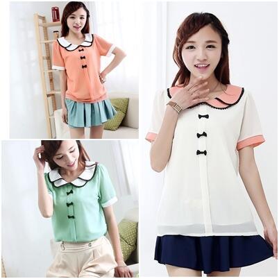 Blouse white, pink, green. chiffon. IDR 105k http://t.co/Sl57maIFLg