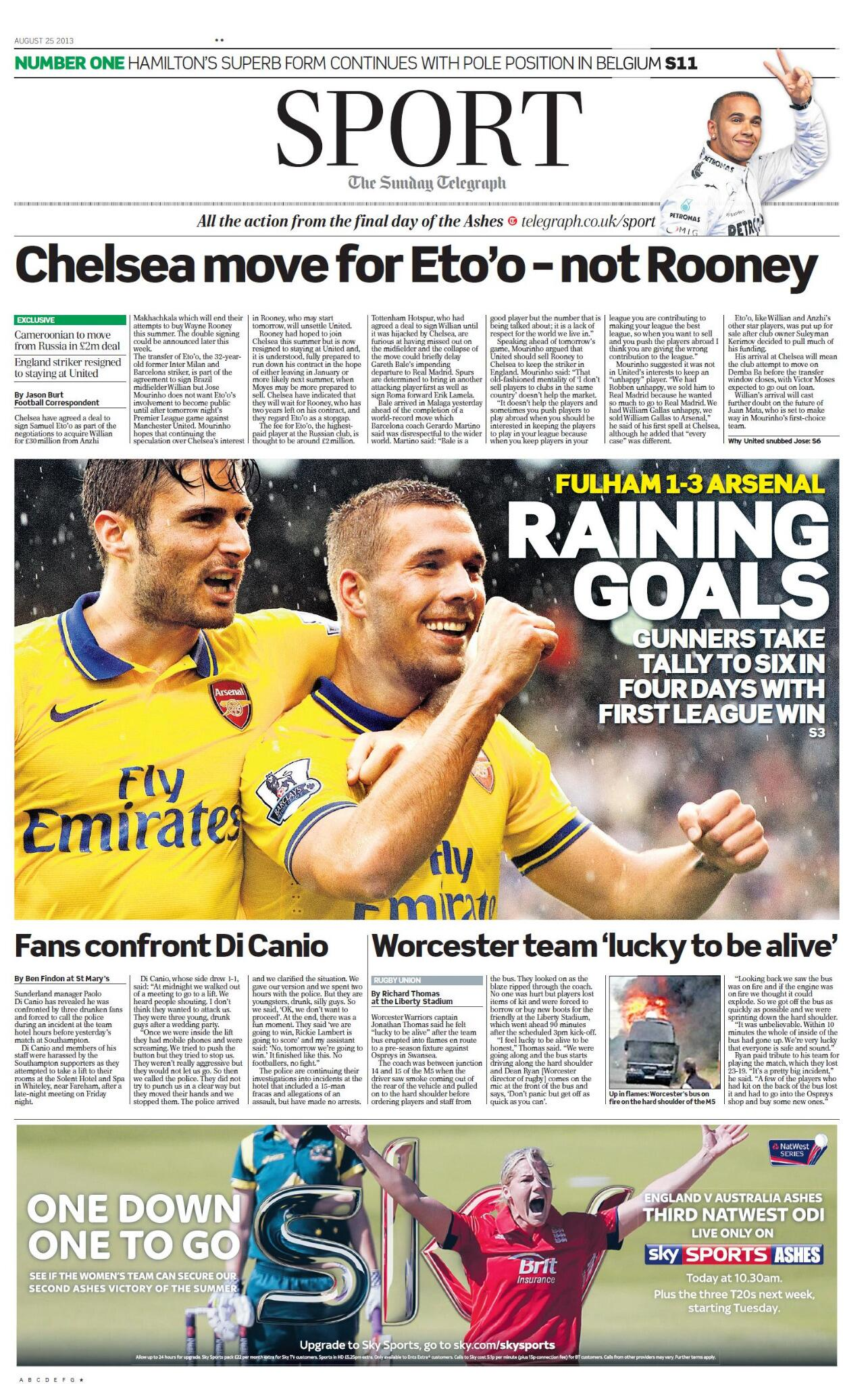Rooney is staying at Man United as Chelsea sign £2m Etoo in Willian deal [Mail & Telegraph]
