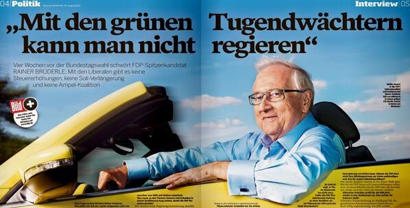 RT @niggi: Erstaunlich, wieviel Mühe sich die BamS gibt, wie eine #FDP-Wahlkampfzeitung auszusehen. #brüderle http://t.co/C0MWjfseDl